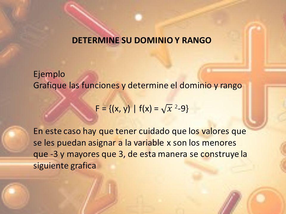 xy -54 -47 -30 30 47 54 Donde el dominio y rango X (- ; 3] [3;+) y y [0; +)