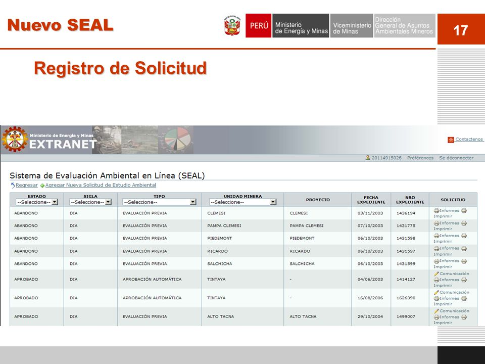 18 Validación de requisitos El sistema muestra un índice con los capítulos y secciones a llenar en acuerdo a los requisitos y términos de referencia establecidos: Nuevo SEAL