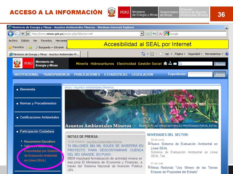 37 ACCESO A LA INFORMACIÓN http://extranet.minem.gob.pe/seal Para hacer aportes u observaciones público en general