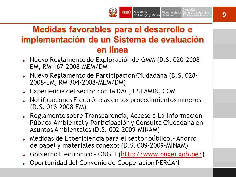 10 Nuevo Sistema de Evaluación Ambiental en Línea RM Nº 270-2011-MEM/DM Vigente a partir del 1 de Julio del 2011