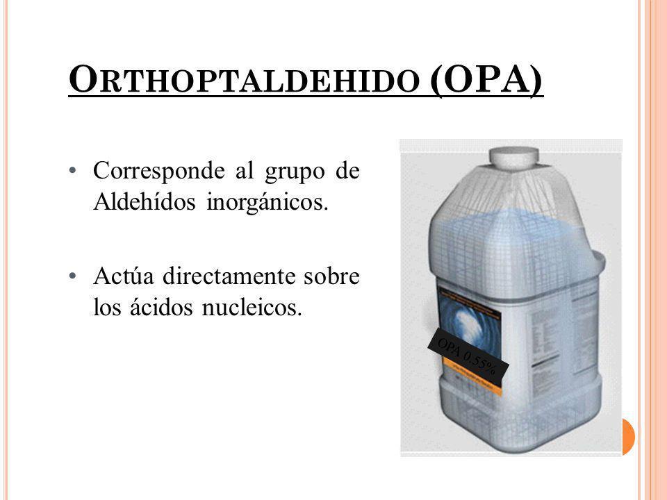 O RTHOPTALDEHIDO (OPA) Concentración...0.55% pH ………………7.5 Temperatura ….