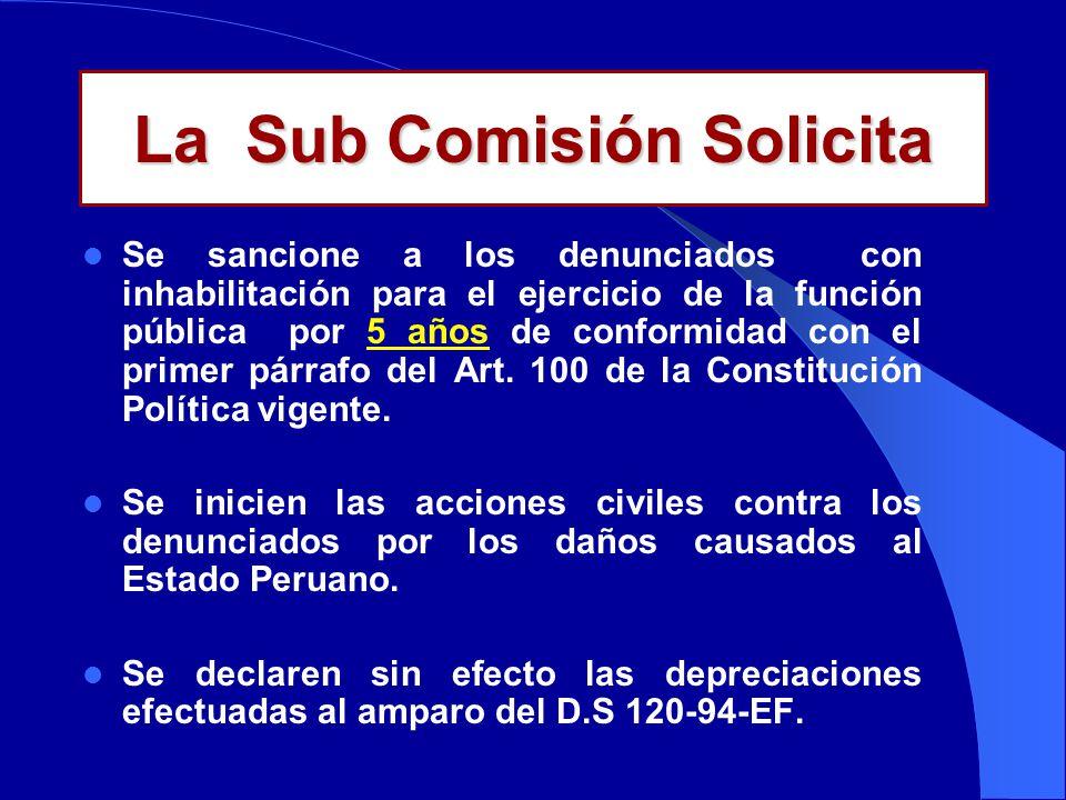 La Sub Comisión Solicita Se sancione a los denunciados con inhabilitación para el ejercicio de la función pública por 5 años de conformidad con el primer párrafo del Art.