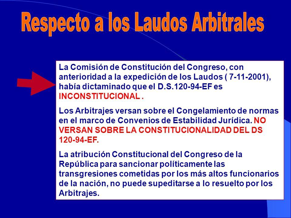 La Comisión de Constitución del Congreso, con anterioridad a la expedición de los Laudos ( 7-11-2001), había dictaminado que el D.S.120-94-EF es INCONSTITUCIONAL.
