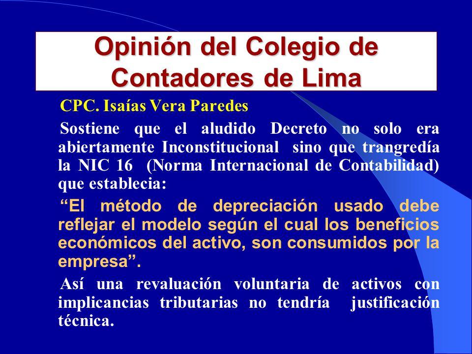 Opinión del Colegio de Contadores de Lima CPC.
