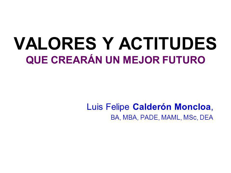¿CUÁLES VALORES Y ACTITUDES CREARÁN UN MEJOR FUTURO? RUNTUS 4 Luis Felipe CALDERÓN-MONCLOA