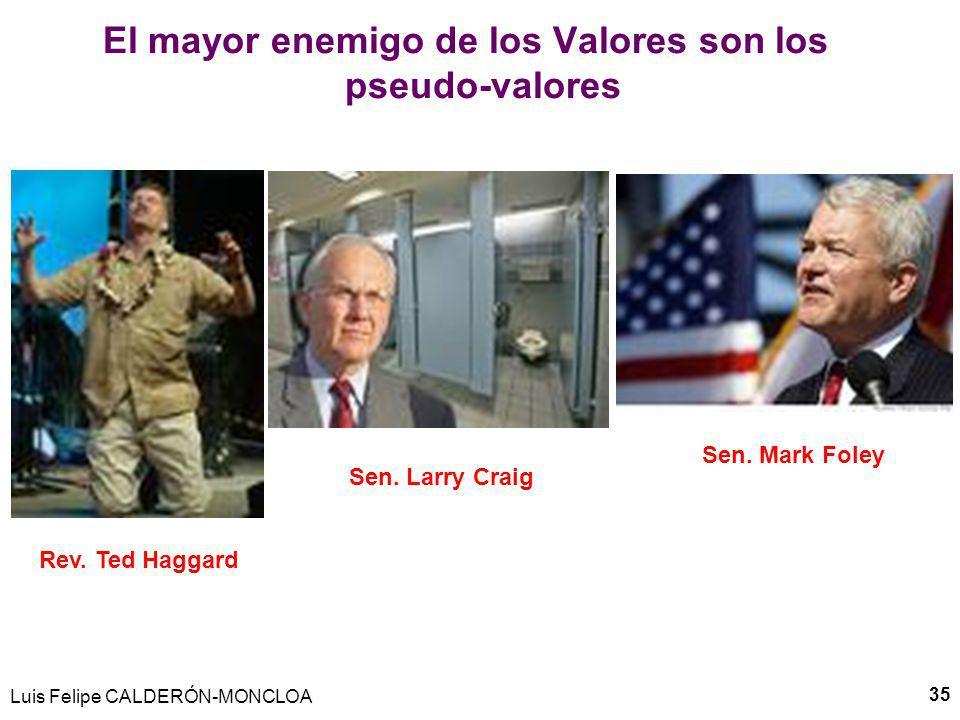 Luis Felipe CALDERÓN-MONCLOA 36 El mayor enemigo de los valores son los pseudo-valores Pastor protestante socio de Bush en lucha contra gays: Rev.