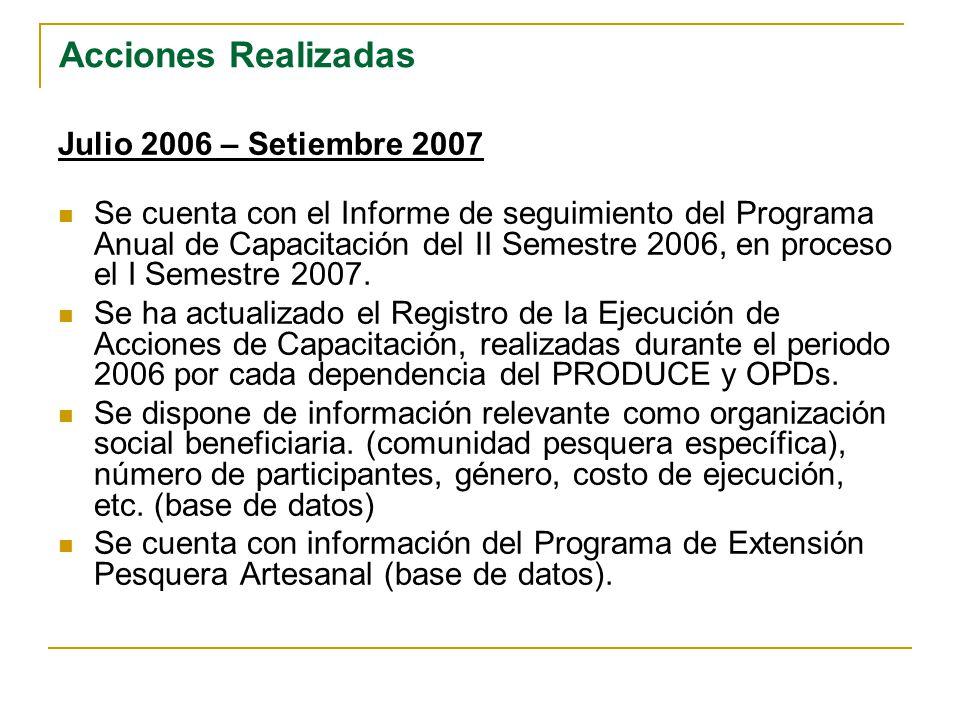 RELACIÓN DE CURSOS BRINDADOS A LA COMUNIDAD PESQUERA ARTESANAL AÑO 2006