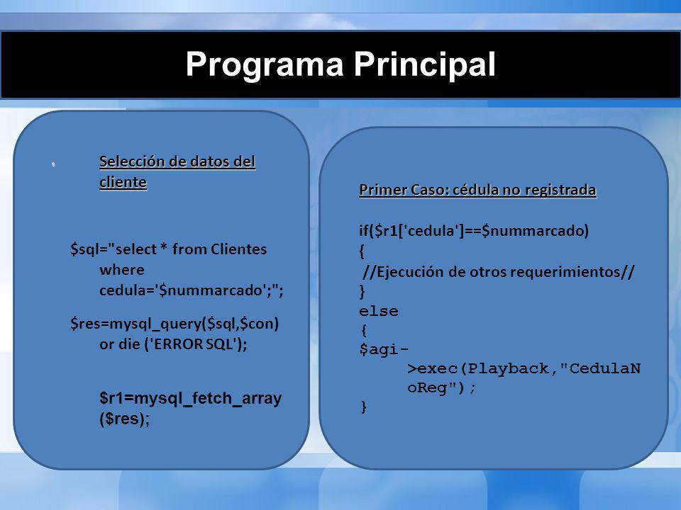 Programa Principal Segundo Caso: cédula registrada sin deudas Segundo Caso: cédula registrada sin deudas $sql= select * from Deudas where IDCliente= .$r1[ IDCliente ]. ; and cancelado=0 ; $res2 = mysql_query($sql,$con)or die (mysql_error()); if(mysql_num_rows($res2)== 0) { $agi->exec(Playback, SinDeudas );}