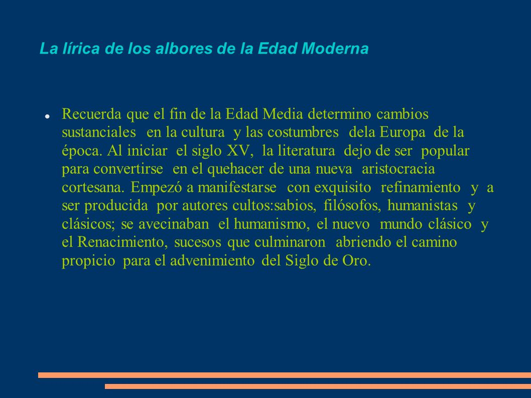 La renovación de la lírica castellana cancionero, marco pautas de la poética del renacimiento.