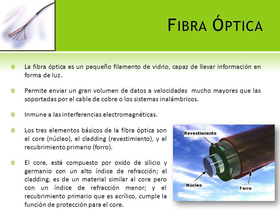 F IBRA Ó PTICA Los tipos de fibra óptica se definen según la relación núcleo/revestimiento expresada en micras: Se tiene entonces dos tipos de fibra óptica: monomodo y multimodo