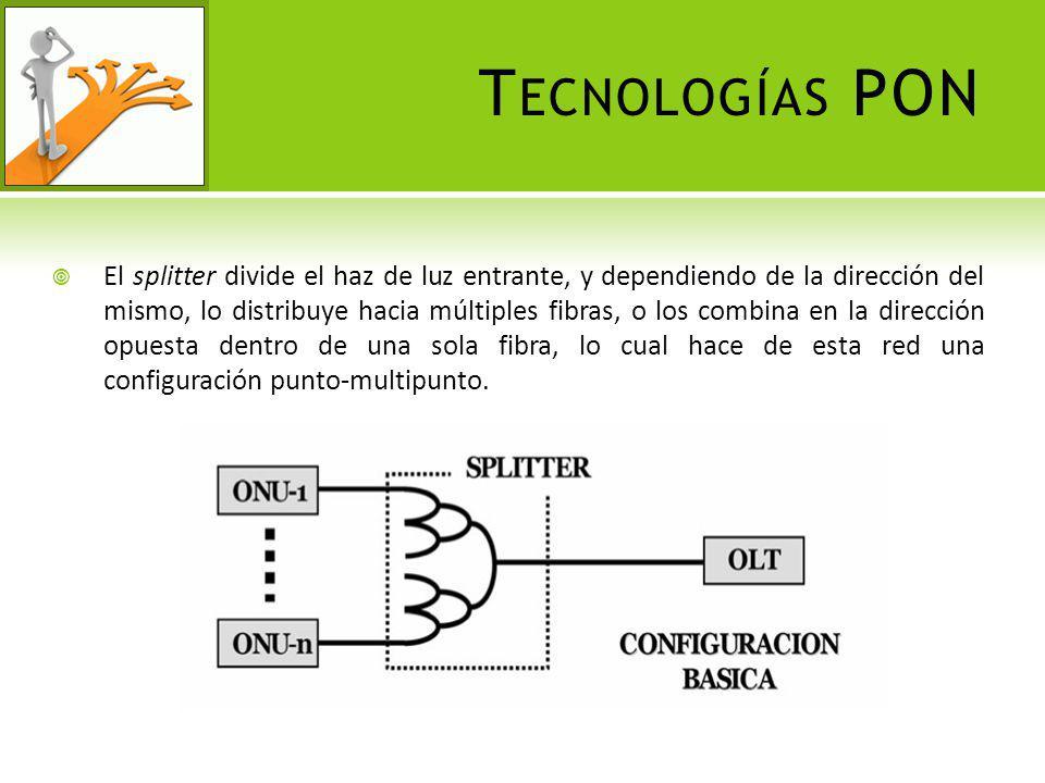 R EDES ÓPTICAS PASIVAS DE BANDA ANCHA BPON La especificación G.983.1 de B-PON define una arquitectura de forma simétrica, es decir, que la velocidad para la transmisión de datos en el canal de bajada es el mismo para el canal de subida, con velocidades de hasta 155 Mbps.