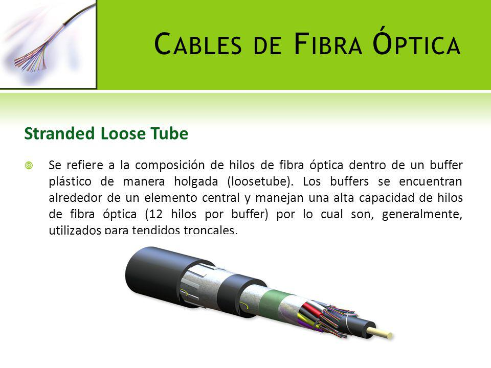 C ABLES DE F IBRA Ó PTICA Central Loose Tube La distribución de los hilos de fibra óptica es similar al Stranded Loose Tube, sin embargo, este tipo de cables contiene un solo buffer central y por esta razón manejan bajas capacidades y son recomendados para redes de acometidas.