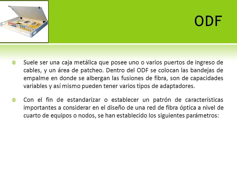 ODF Ingreso de cables: lateral, posterior.Número de puertos de cable y diámetro.