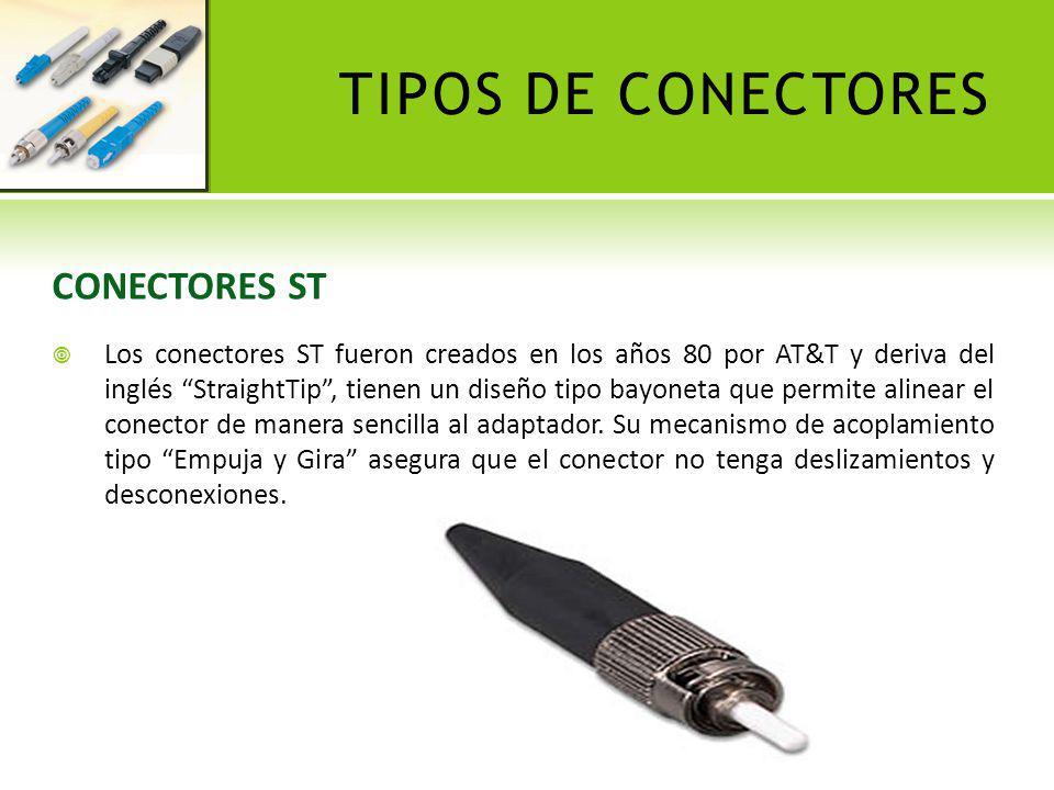 TIPOS DE CONECTORES CONECTORES SC Los conectores SC, tienen un diseño versátil que permite alinear el conector de manera sencilla al adaptador.