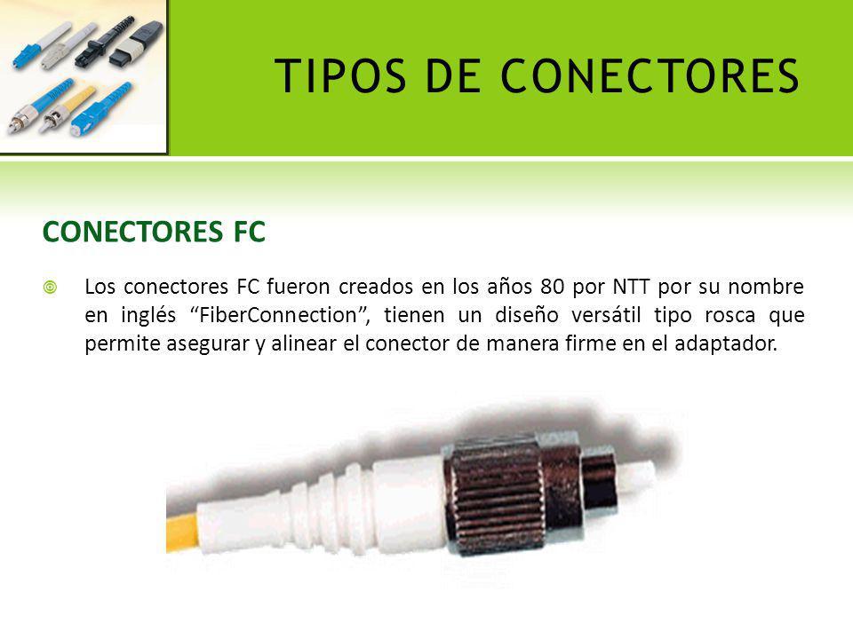 TIPOS DE CONECTORES CONECTORES LC Desarrollados en 1997 por Lucent Technologies, los conectores LC tienen un aspecto exterior similar a un pequeño SC, con el tamaño de un RJ 45 y se presentan en formato Simplex o Dúplex, diferenciándose externamente los de tipo SM de los de tipo MM por un código de colores.