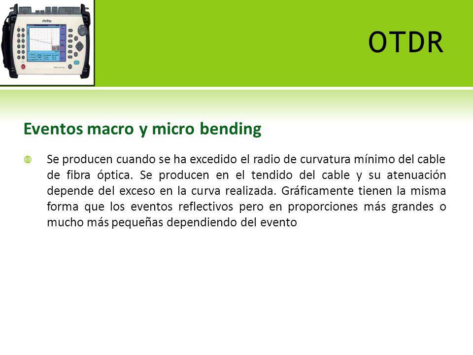 OTDR Fin de fibra Ocurre cuando se termina el enlace y se caracteriza porque al final de la traza existe un evento reflectivo producido por el conector.