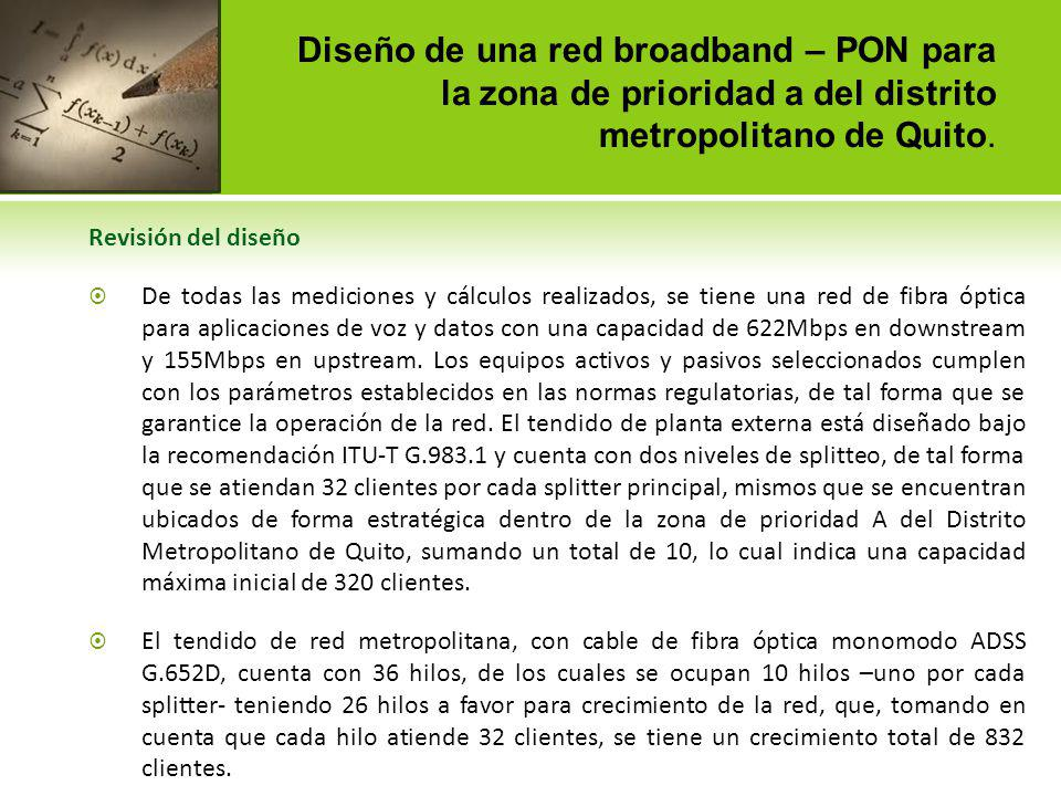 Diseño de una red gigabit capable – PON para la zona de prioridad a del distrito metropolitano de Quito.