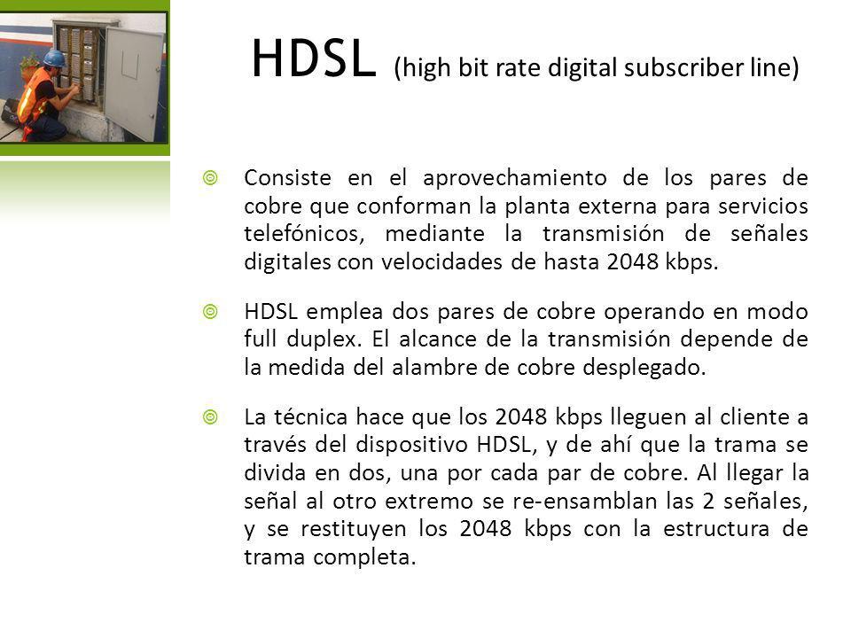 SDSL (single digital suscribe line) Esta tecnología es muy similar a la HDSL, ya que soporta transmisiones simétricas, pero utiliza un solo par de cobre y tiene un alcance máximo de 3048 metros.