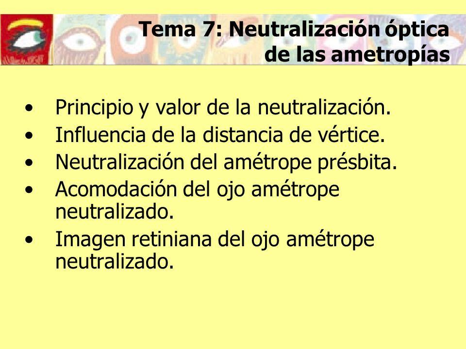 Principio y valor de la neutralización Objetivo de la neutralización: Que la persona vea los objetos en el infinito nítidamente sin necesidad de acomodar Principio de la neutralización: La imagen de un objeto situado en el infinito a través de la lente debe formarse en el punto remoto del ojo