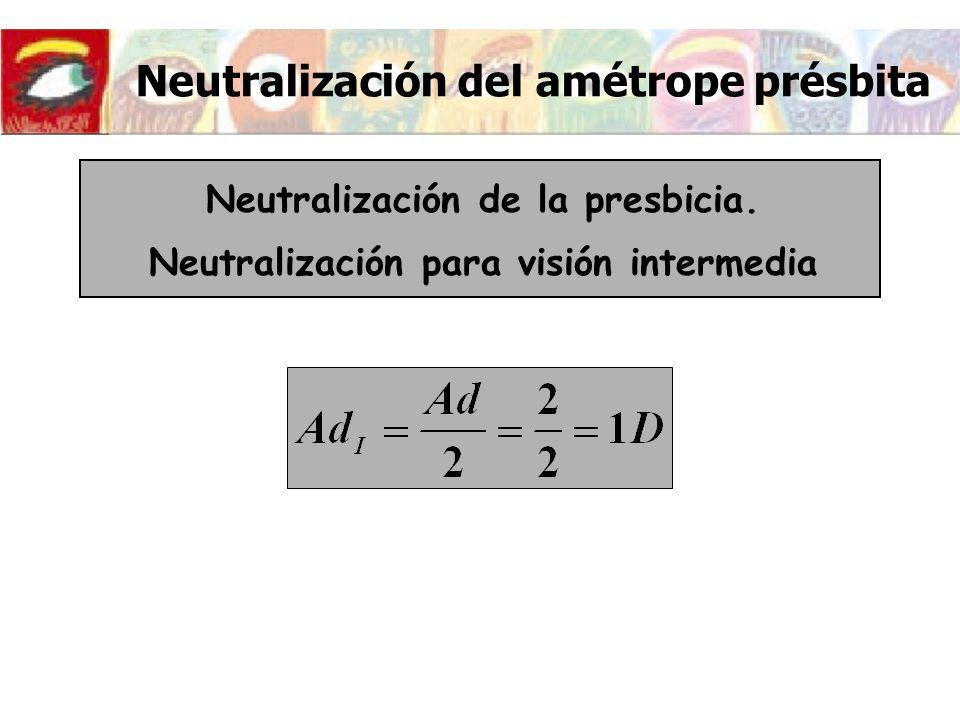 Neutralización del amétrope présbita Recorrido de acomodación en visión intermedia Puntos próximos y remotos conjugados con el remoto y el próximo intermedio a través de la potencia de la lente
