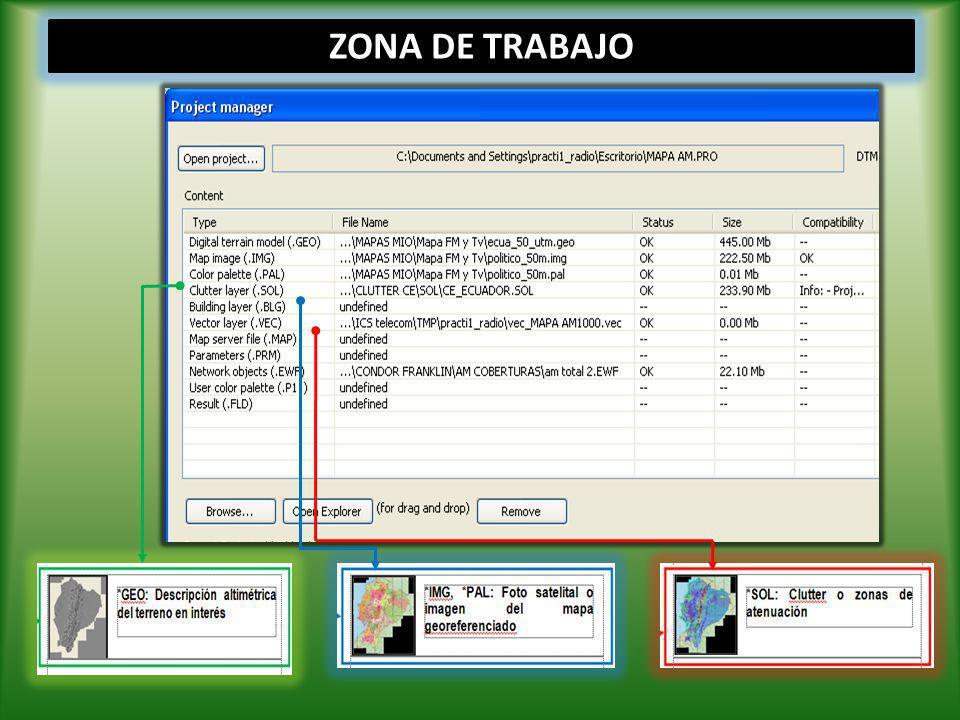 DISEÑO FORMAS DE TRABAJO *.GEO (archivo DEM) *.IMG (archivo imagen) *.PAL (peleta de colores) *.SOL (capa clutter)