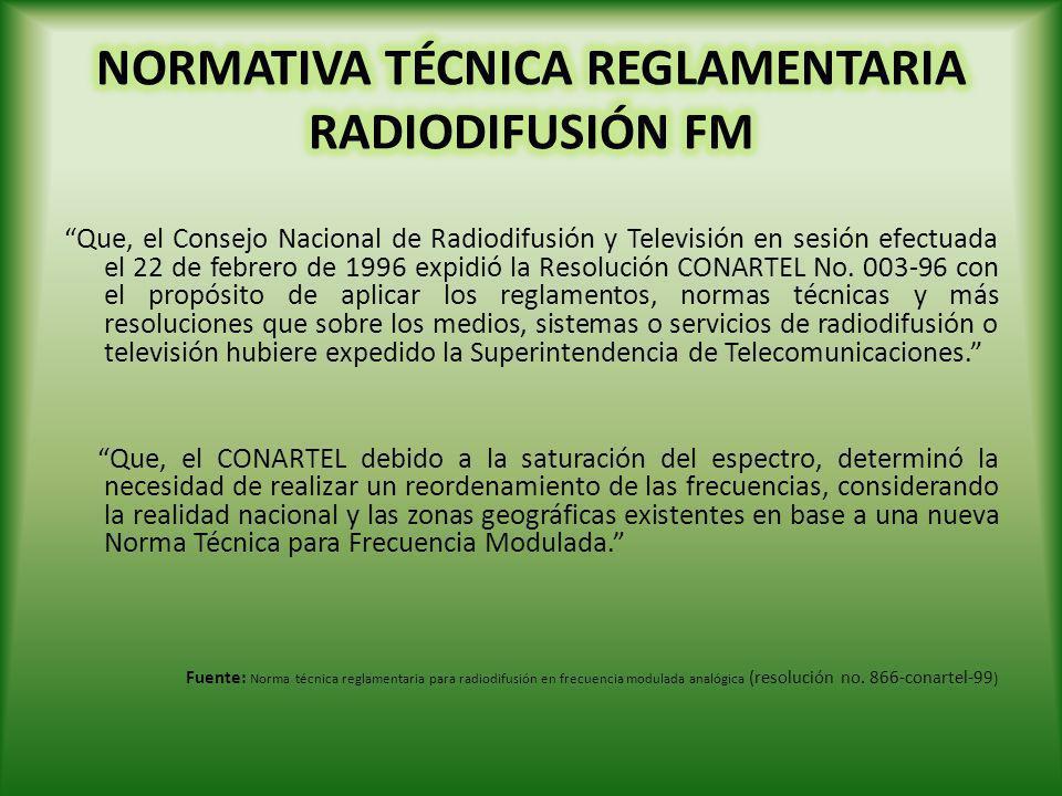 Banda de Frecuencias: 88 a 108 MHz Canalización de la banda de FM: 100 canales con una separación de 200 KHz Grupos de Frecuencias: Grupos: G1, G2, G3, G4 con 17 frecuencias c/u Grupos: G5, G6 con 16 frecuencias.