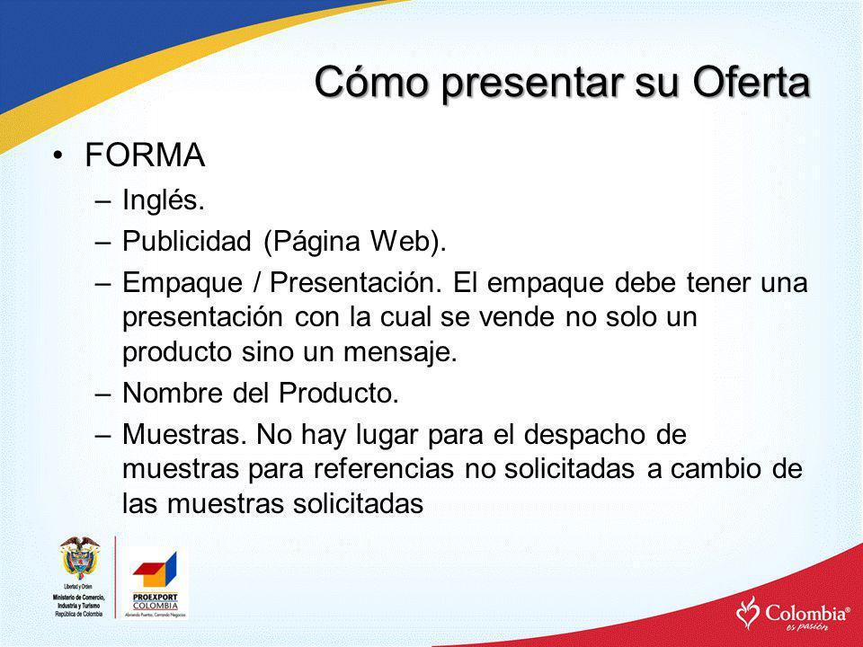 Cómo presentar su Oferta –Folletos, catálogos, material promocional y herramientas audiovisuales en ingles.