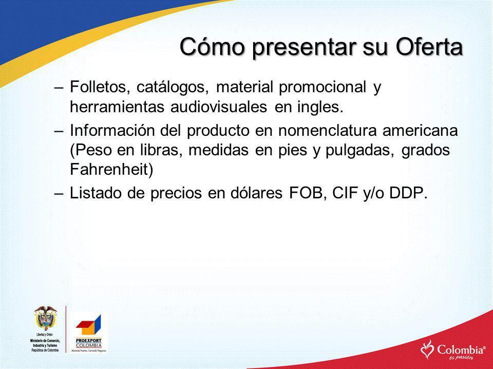 Cómo presentar su Oferta –Tarjetas de presentación con información en ingles y adaptación al mercado internacional.