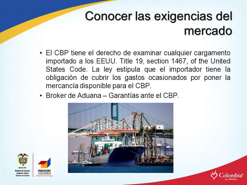 Conocer las exigencias del mercado –United States International Trade Commisson: www.usitc.gov Estadísticas de comercio con Estados Unidos.