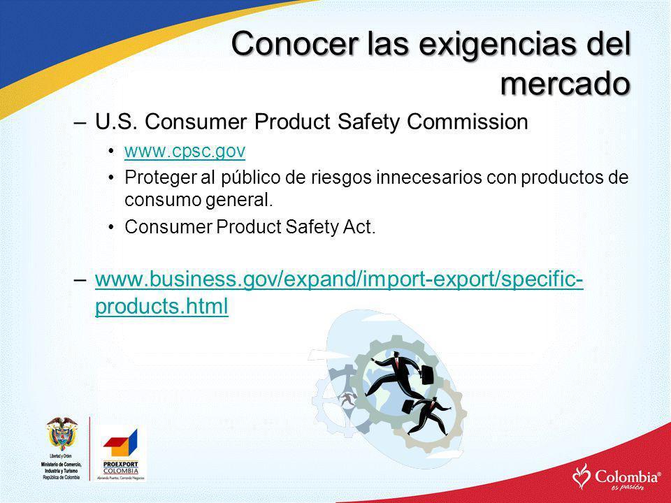Conocer las exigencias del mercado NORMAS TECNICAS Ejemplos: –Manufacturas: Underwriters Laboratory (UL).