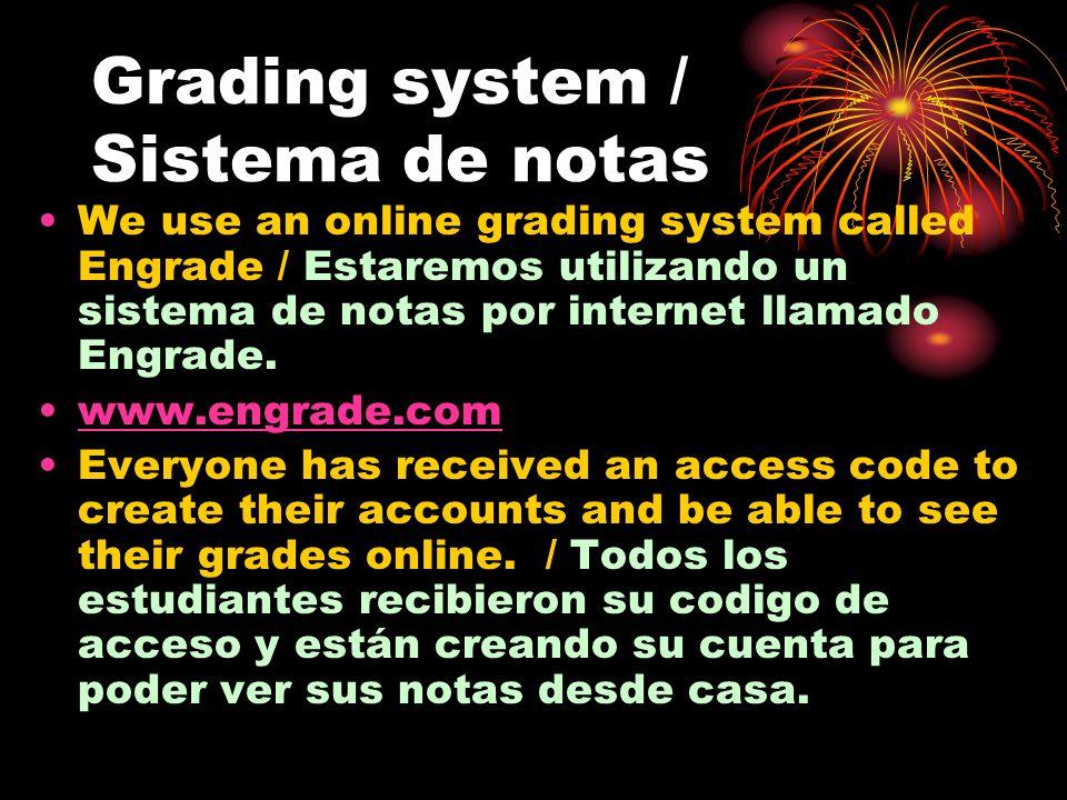 Grading system / Sistema de notas (2) Grading system will be based on a letter system that will reflect a percentage, as follows / El sistema de notas está basado en el sistema tradicional de letras que reflejan un porciento : A+ (100-97) A (96-94) A- (93-90) B+ (89-87) B (86-84) B- (83-80) C+ (79-77) C (76-74) C- (73-70) D+ (69-67) D (66-64) D- (63-60) E+ (59-57) E (56-54) E- (53-0)