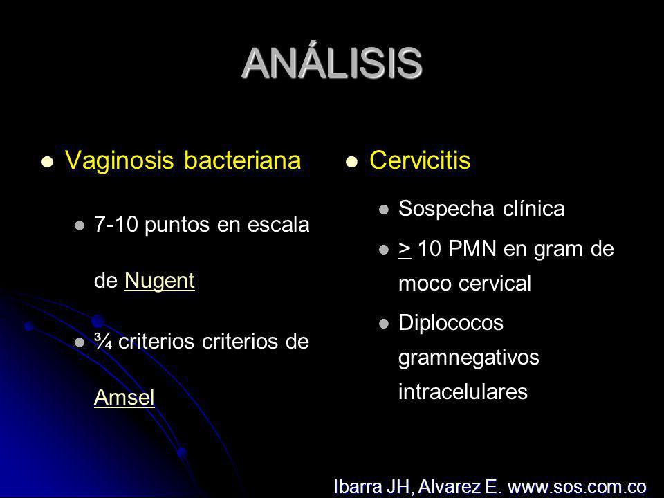 ANÁLISIS Tricomoniasis Observación de Trichomonas vaginalis Vaginitis x cándida Observación de pseudohifas o levaduras EPI Sospecha o Dx de cervicitis Dolor al movilizar cérvix Dolor al palpar anexos Ibarra JH, Alvarez E.