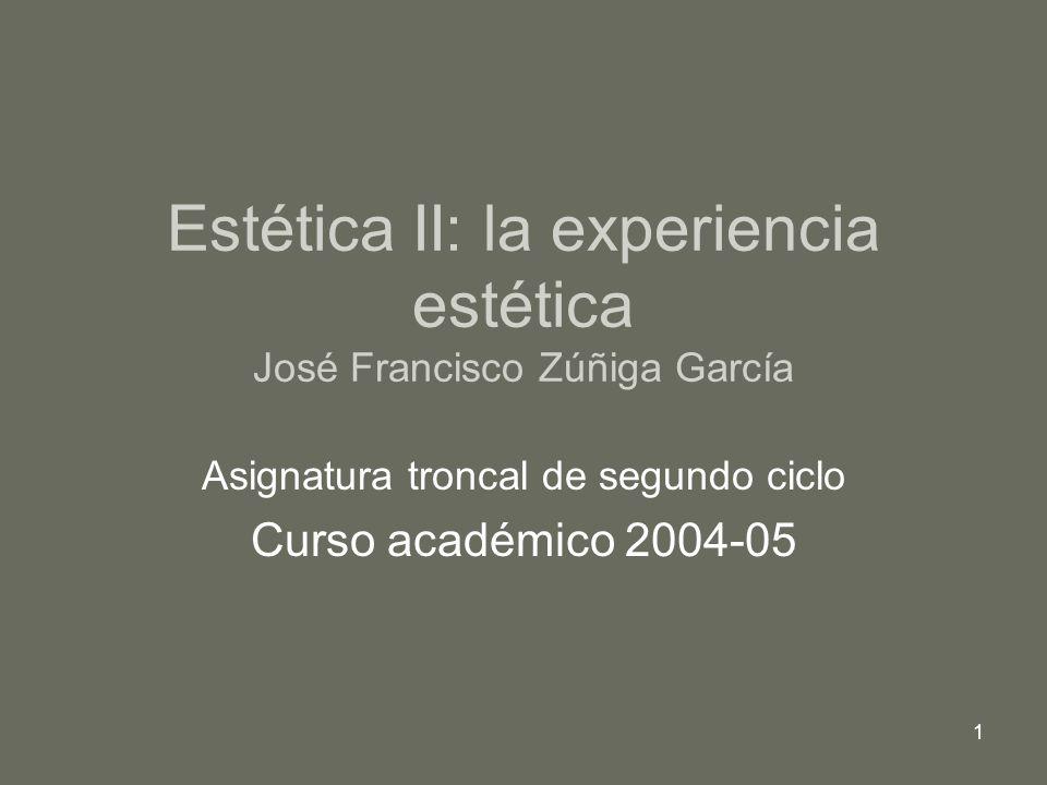 2 División de la estética según la división de la realidad (o mundo) en sujeto y objeto Estética I: la naturaleza del arte.
