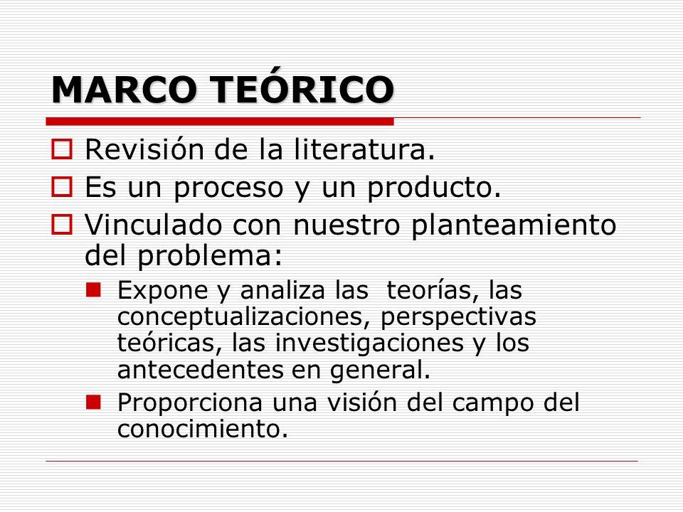 DEFINICIÓN Marco interpretativo del problema que se va a estudiar y dentro del cual se encuentra implícita la concepción metodológica del investigador, así como el conjunto de conceptos que tienen como finalidad la explicación del fenómeno.