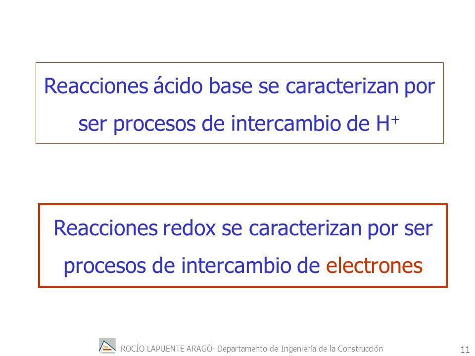 ROCÍO LAPUENTE ARAGÓ- Departamento de Ingeniería de la Construcción 12 Cuando una sustancia pierde electrones, aumenta la carga positiva de un átomo de la sustancia se dice que la sustancia se ha oxidado.