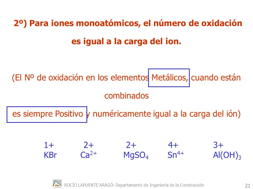 ROCÍO LAPUENTE ARAGÓ- Departamento de Ingeniería de la Construcción 22 3º) El número de oxidación del hidrógeno combinado es +1 y del oxígeno es –2, excepto en hidruros y peróxidos.