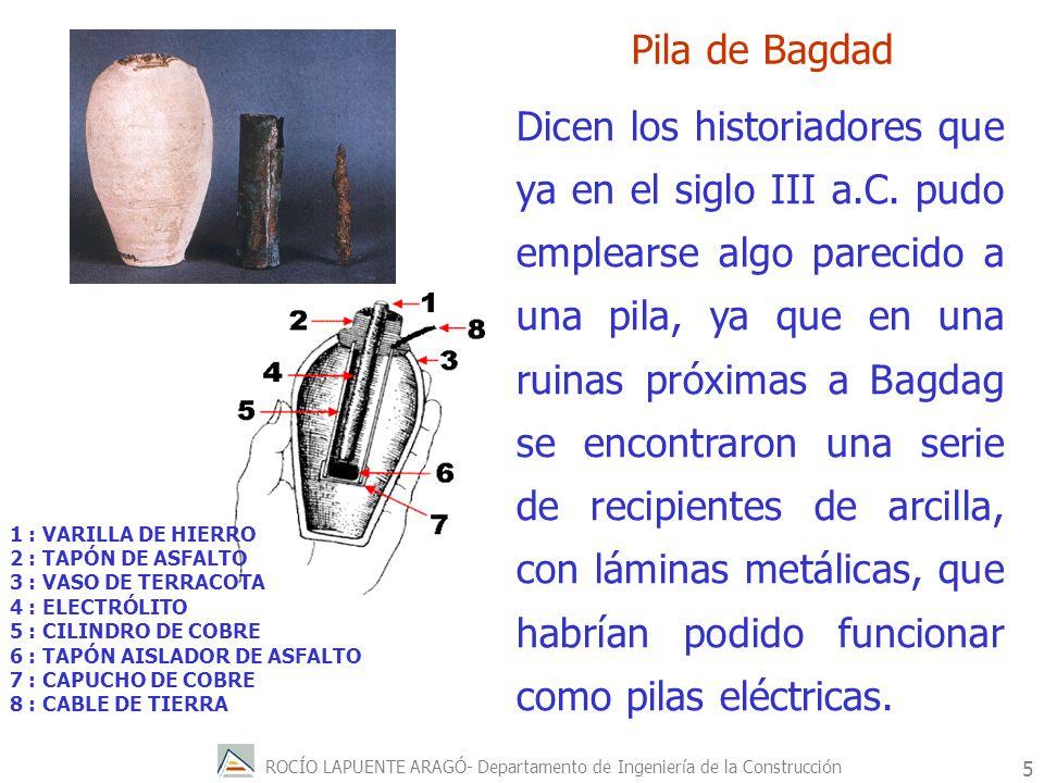 ROCÍO LAPUENTE ARAGÓ- Departamento de Ingeniería de la Construcción 6 El nacimiento de las pilas tal y como hoy las conocemos podemos situarlo en la ultima década del siglo XVIII.