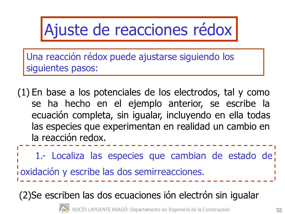 ROCÍO LAPUENTE ARAGÓ- Departamento de Ingeniería de la Construcción 59 2.-Ajusta cada semirreacción por separado procediendo por el orden siguiente: a) ajusta el número de átomos cuyo estado de oxidación cambia.