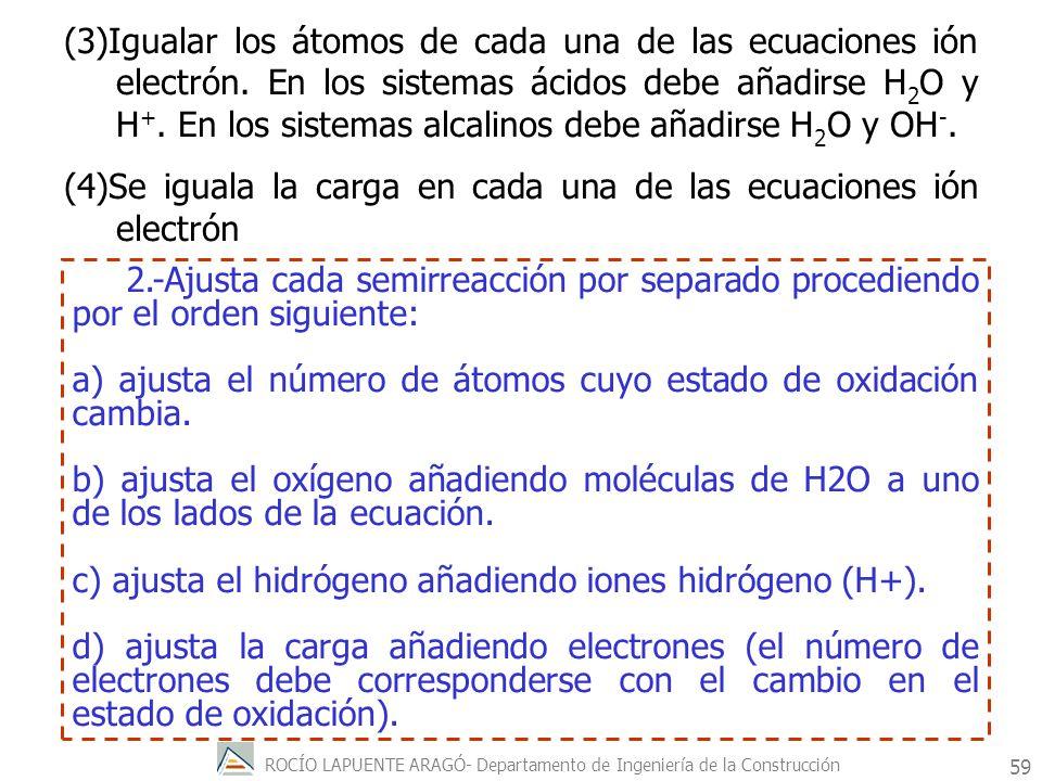 ROCÍO LAPUENTE ARAGÓ- Departamento de Ingeniería de la Construcción 60 3.- Multiplica las dos ecuaciones de forma que el número de electrones ganados por una sea igual a los perdidos por la otra.