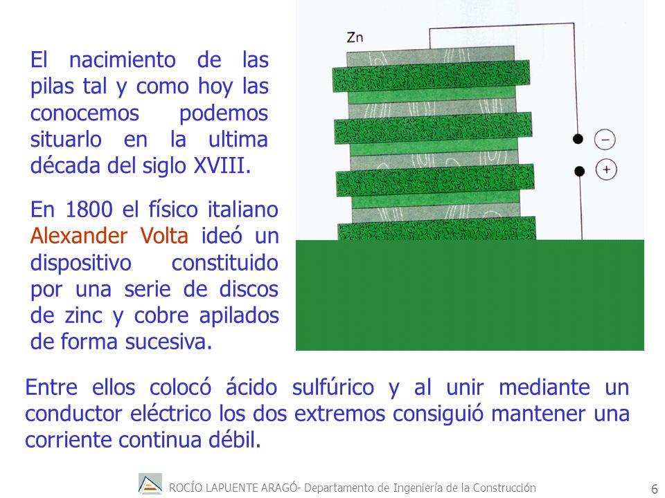 ROCÍO LAPUENTE ARAGÓ- Departamento de Ingeniería de la Construcción 7 Precisamente el hecho de que Volta apilara discos es lo que dio el nombre genérico de pila a estos dispositivos.