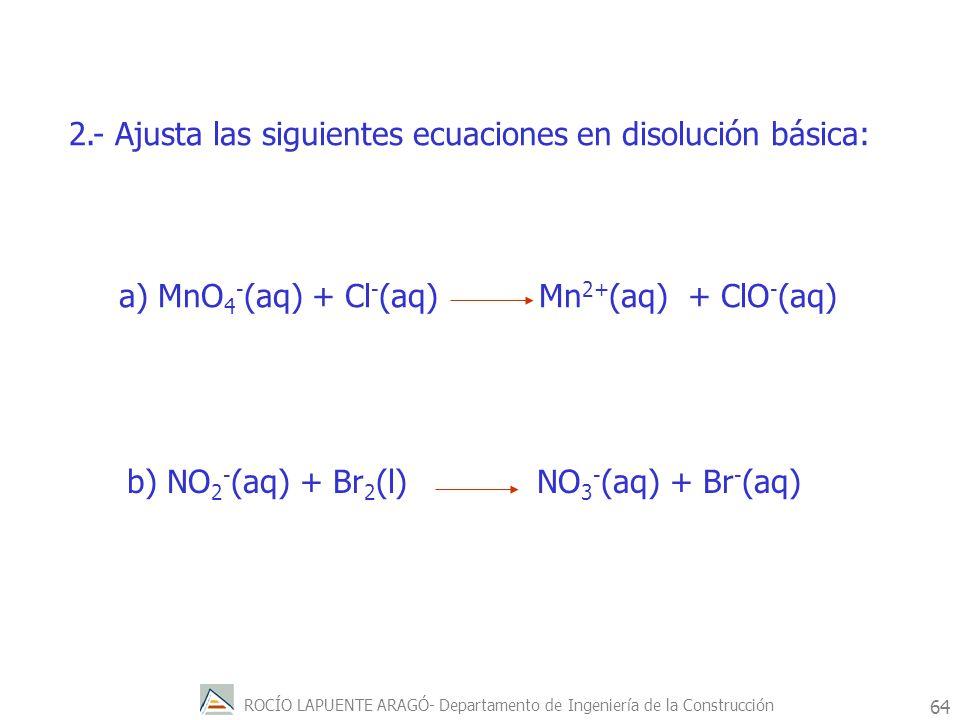 ROCÍO LAPUENTE ARAGÓ- Departamento de Ingeniería de la Construcción 65 Ejemplos de reacciones redox Reducción de un óxido metálico con carbono C (s) + 2CuO (s) 2Cu (s) + CO 2 (g) Reducción del óxido férrico con aluminio (aluminotermia) Fe 2 O 3(s) + Al (s) Fe (s) + Al 2 O 3(s) Eº(Cu 2+ /Cu) = 0.34 v.