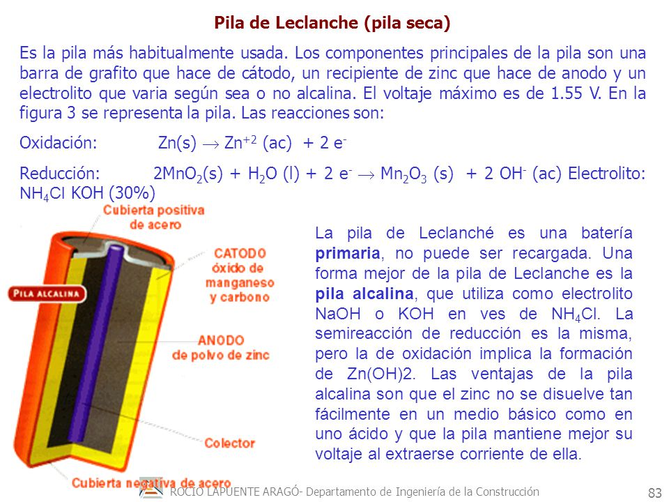 ROCÍO LAPUENTE ARAGÓ- Departamento de Ingeniería de la Construcción 84 Acumulador o batería de plomo Es la bateria secundaria mas conocida.