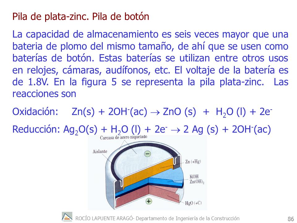 ROCÍO LAPUENTE ARAGÓ- Departamento de Ingeniería de la Construcción 87 PILAS DE COMBUSTIBLE El rendimiento de la reacción viene determinado por la ecuación de Nerst