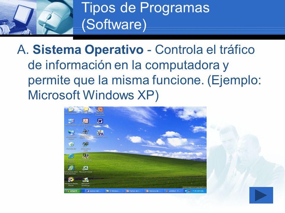 B.Programas de Aplicación – Todos aquellos programas utilizados para llevar a cabo una tarea.