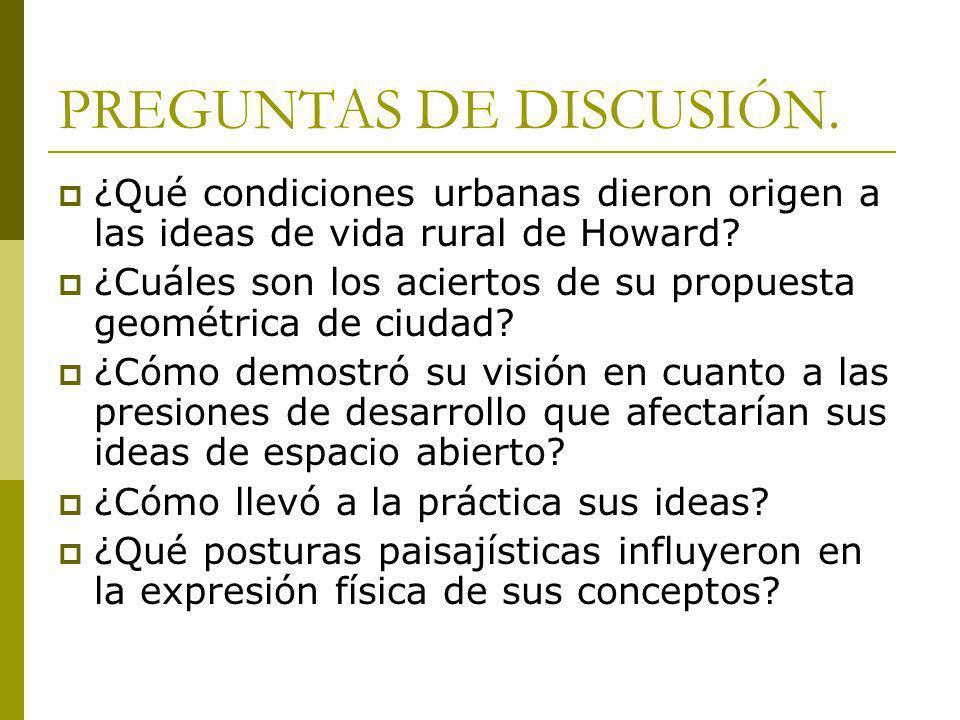PREGUNTAS DE DISCUSIÓN: ¿Cómo se relacionan sus conceptos económicos Y sociales con los suburbios de hoy.