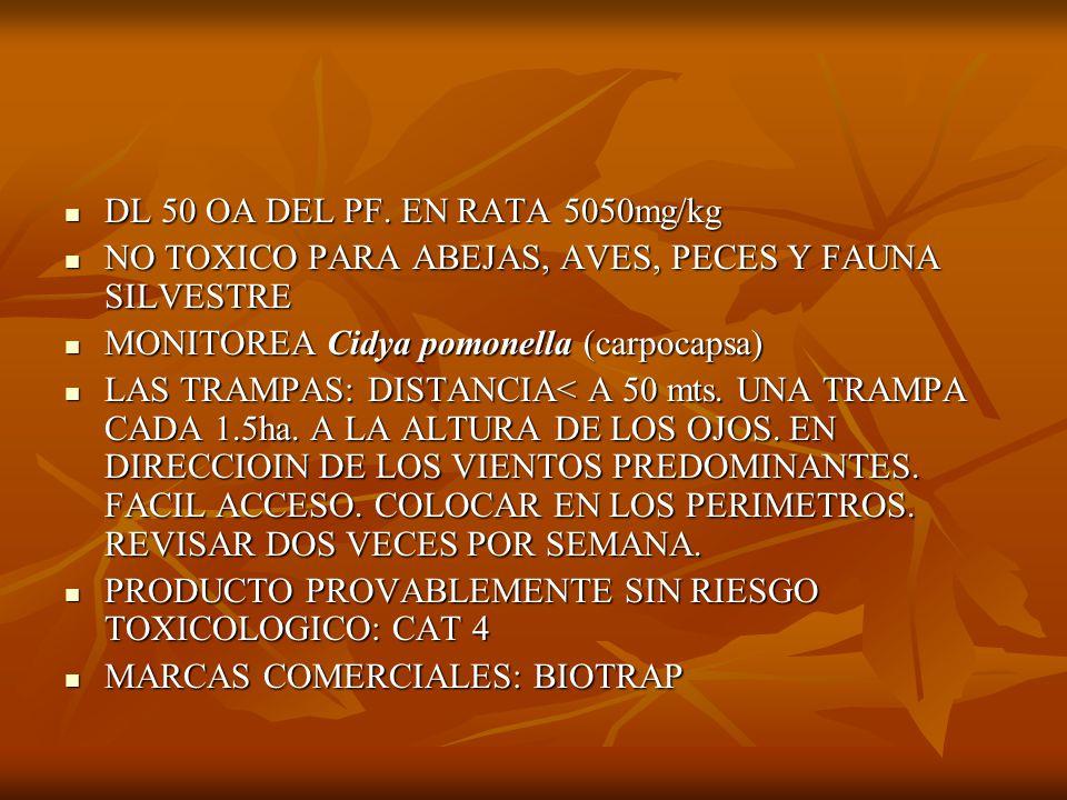 DODECADIENOL B DIENOL DE CONFUSION SEXUAL DIENOL DE CONFUSION SEXUAL TIRAS EMISORAS: EN EL PRIMER TERCIO DEL ARBOL PROTEGIDAS CON CORTINAS PROTECTORAS 300/ ha RENOVACION A LOS 65 DIAS TIRAS EMISORAS: EN EL PRIMER TERCIO DEL ARBOL PROTEGIDAS CON CORTINAS PROTECTORAS 300/ ha RENOVACION A LOS 65 DIAS SE APLICAN LUEGO DE REGISTRARSE LA PRIMER CAPTURA EN DODECADIENOL A NO USAR EN LOTES CON ANTECEDENTES NO RESTRICCION DE USO SE APLICAN LUEGO DE REGISTRARSE LA PRIMER CAPTURA EN DODECADIENOL A NO USAR EN LOTES CON ANTECEDENTES NO RESTRICCION DE USO PLAGAS QUE CONTROLA: Cidya pomonella ( carpocapsa) PLAGAS QUE CONTROLA: Cidya pomonella ( carpocapsa)
