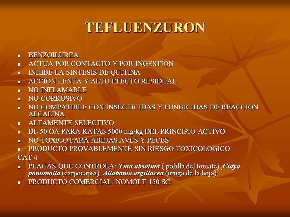 MIMETICOS DE HORMONAS JUVENILES METOPRENE METOPRENE - ESTERDIENOICO TERPENIDO - REGULADOR DE CRECIMIENTO DE PLAGAS DEL TABACO ALMACENADO - ALTAMENTE RESIDUAL - NO TOXICO: ALTERA EL CICLO BIOLOGICO DE LOS INSECTOS - LOS RESIDUOS NO AFECTAN AL TABACO - DL 50 OA PARA RATA 34600mg/kg - NO TOXICO PARA ABEJAS, AVES Y PECES - PROVABLEMENTE SIN RIESGO TOXICOLOGICO CAT 4 - PLAGAS QUE CONTROLA: Lasioderma serricorne ( Carcoma del tabaco), Ephesti elutella (polilla de productos almacenados) - MARCAS COMERCIALES: KABAT.