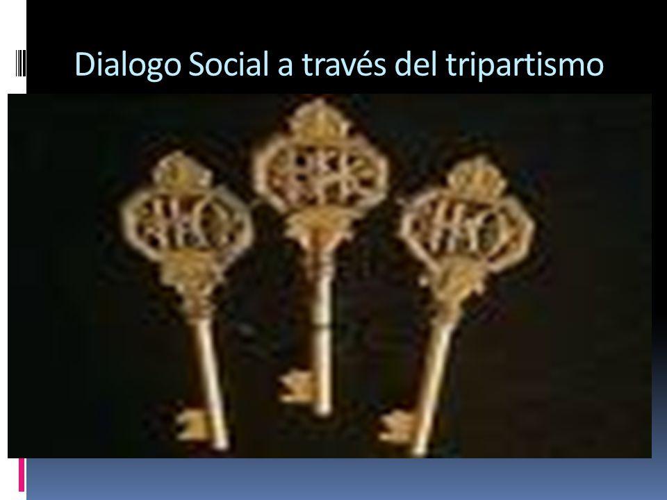 El tripartismo y el dialogo social El diálogo social, a través del tripartismo, está indisolublemente unido a la OIT, desde los orígenes de esta.