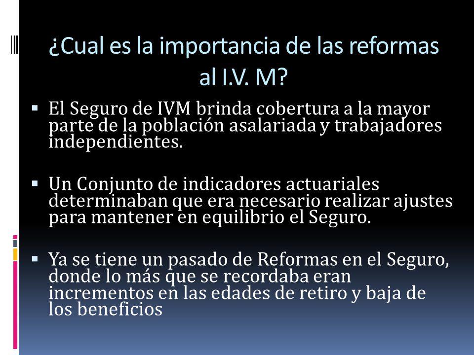 Características de la reforma al seguro de I.V.M Representación social Diálogo Transparencia Rendición de Cuentas Decisiones por consenso basadas en diálogo técnico y aportes de los participantes.