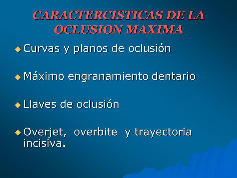 RELACIONES ESTÁTICAS: RELACIONES ESTÁTICAS: A) Alineación intraarcada: A) Alineación intraarcada: a) Curvas b) Planos c) Anatomía oclusal c) Anatomía oclusal B) Alineación Interarcada: B) Alineación Interarcada: a) Relación normal b) Relación de los dientes posteriores c) Relaciones de los dientes anteriores RELACIONES DINÁMICAS RELACIONES DINÁMICAS